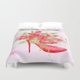 Watercolor Red Rose Shoe Duvet Cover