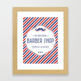 Mr. Moustache Barber Shop Framed Art Print