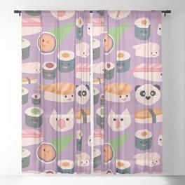 Kawaii sushi purple Sheer Curtain