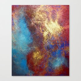 Red, Blue And Gold Modern Abstract Art Painting Canvas Print