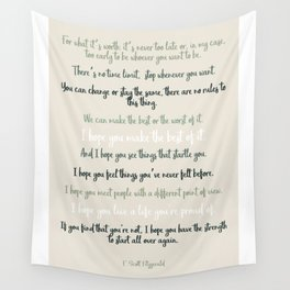 For what it's worth by F Scott Fitzgerald 2 #minimalism #poem Wall Tapestry