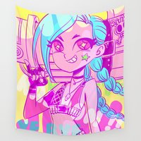 league Wall Tapestries featuring League of Legends - Jinx kaboom by tcbunny
