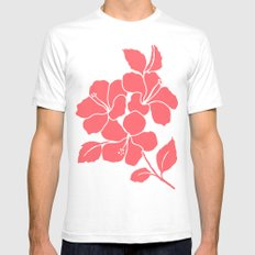 Hibiscus Flowers Animal Print Coral Ivory White Mens Fitted Tee SMALL