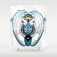 skyfall Shower Curtains featuring Smoking Skyfall Dragon by Pr0l0gue