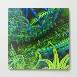 Blue and Lime Green Fractal Metal Print