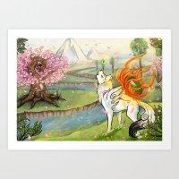 okami Art Prints featuring Okami Amaterasu by Keshi
