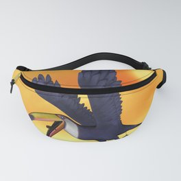 Funny cute flying toucan in the sunset Fanny Pack