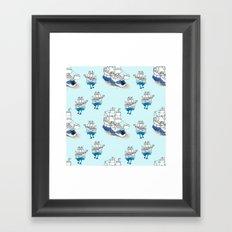 Ships Pattern Framed Art Print