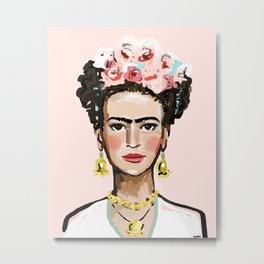 Frida on Soft Pink Metal Print