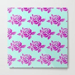 Bright Roses Pastel Green Purple Design Metal Print
