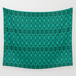 Cyan Damask Pattern Wall Tapestry