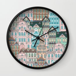 City Houses in Pastel Colours Wall Clock