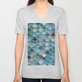 Multicolor Aqua Mermaid Scales - Beautiful Abstract Glitter Pattern Unisex V-Neck