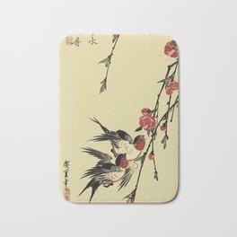 Moon Swallows and Peach Blossoms Bath Mat