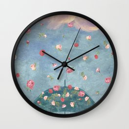 I Wished for a Rose Rain for You Wall Clock
