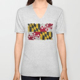 State flag of Flag of Maryland, Vintage retro style Unisex V-Neck