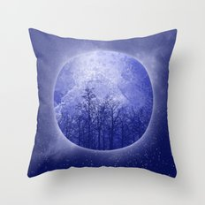 circle blue landscape Throw Pillow