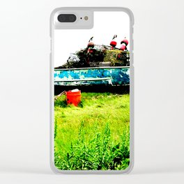 Lobster Dinghy With Lobster Traps Clear iPhone Case