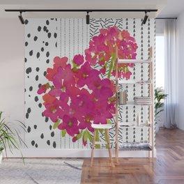 Vibrant Pink Geranium on Black and White Geometric Ground Wall Mural