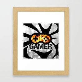Gamer Flames BNW Framed Art Print