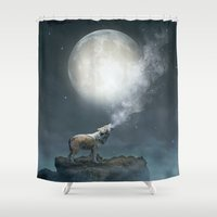 dreams Shower Curtains featuring The Light of Starry Dreams (Wolf Moon) by soaring anchor designs