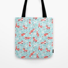 Fox and Bunny Pattern Tote Bag