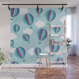 Hot air balloons and clouds - blue and pink Wall Mural