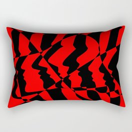Profiles in Red and Black Rectangular Pillow