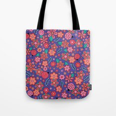 Lady Bug Flowers Tote Bag