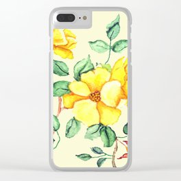 YELLOW FLOWER ON CREAM Clear iPhone Case