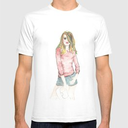 Watercolored girl with red sweater on T-shirt