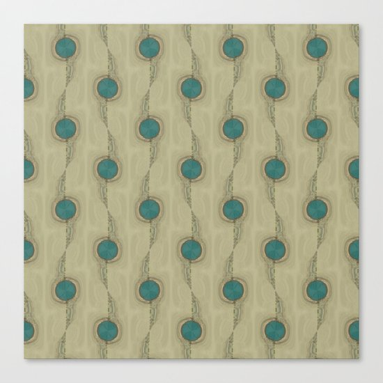 Teal Turquoise Circles Pattern Modern Abstract Canvas Print