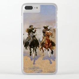 "Frederic Remington Western Art ""Dash For The Timber"" Clear iPhone Case"