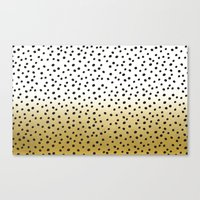 gold dots Canvas Prints featuring Dots on White&Gold by Oh Monday
