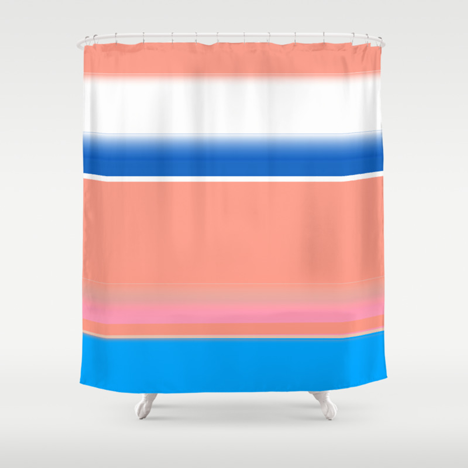 Blue Coral Blush And White Bold Stripes Shower Curtain