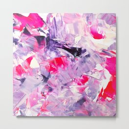 Fall in love with your life | Modern purple neon pink abstract brushstrokes acrylic painting Metal Print