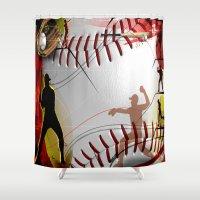 baseball Shower Curtains featuring Baseball by Robin Curtiss