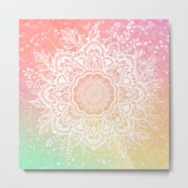 Mandala Bohemian Glitter Pink Gold Mint Sparkle Floral Wreath Illustration Metal Print