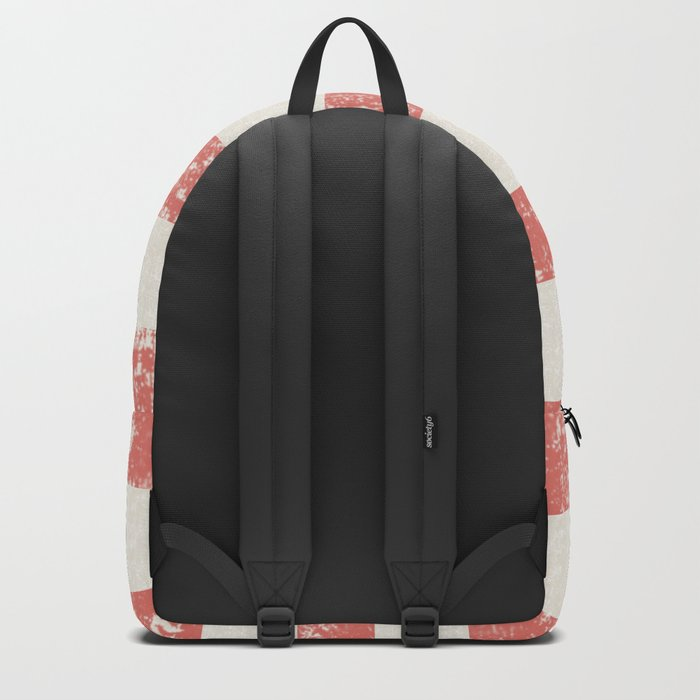 Maritime Beach Pattern- Red and White Stripes- Horizontal- Backpack