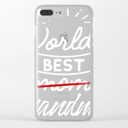 World's Best Mom Grandma graphic, Promoted to Grandma print Clear iPhone Case