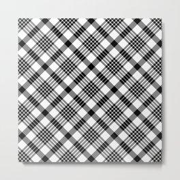 Black and White Plaid Pattern Metal Print