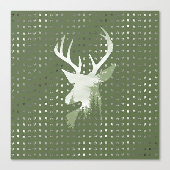 Green Deer Abstract Footprints Landscape Design Canvas Print