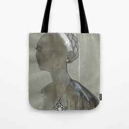 girl with silver diamond oltu stone necklace Tote Bag
