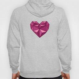 Geometric Diamond Heart - Rubelite Hoody
