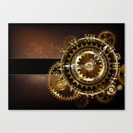 Steampunk Clock with Gears Canvas Print