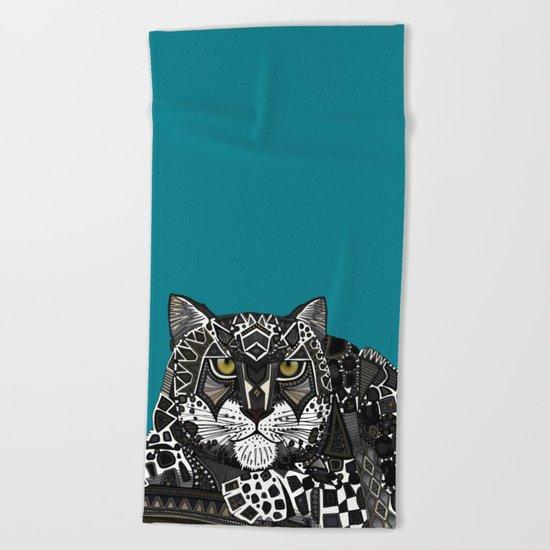 snow leopard teal Beach Towel