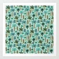 Tropics palm trees pattern print summer vacation design by andrea lauren Art Print