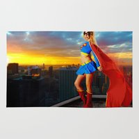 supergirl Area & Throw Rugs featuring Supergirl by Shana-e