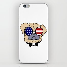 Yellow Funny Pug Dog in Sunglasses With USA Flag iPhone Skin