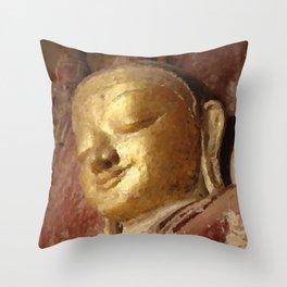 Buddha Head Gold Illustration Throw Pillow
